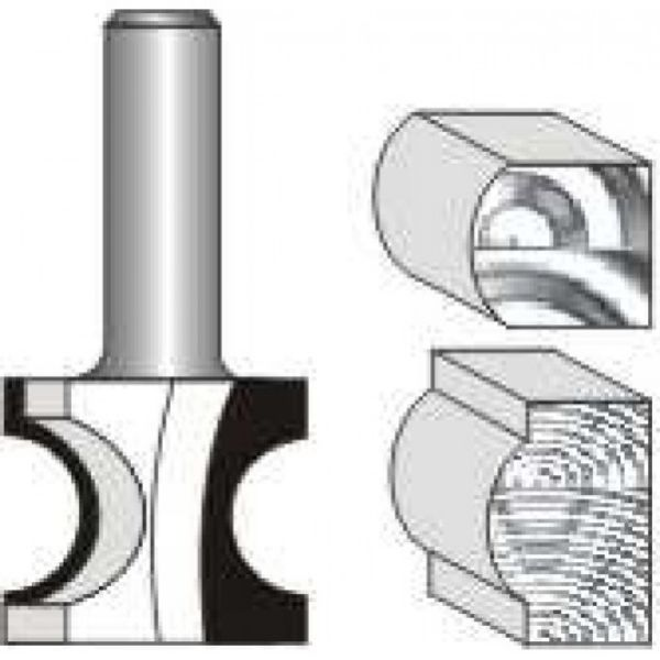 """Picture of BULL NOSE RADIUS- FULL RADIUS IN 1/2"""" WOOD - SHANK: 1/4"""""""