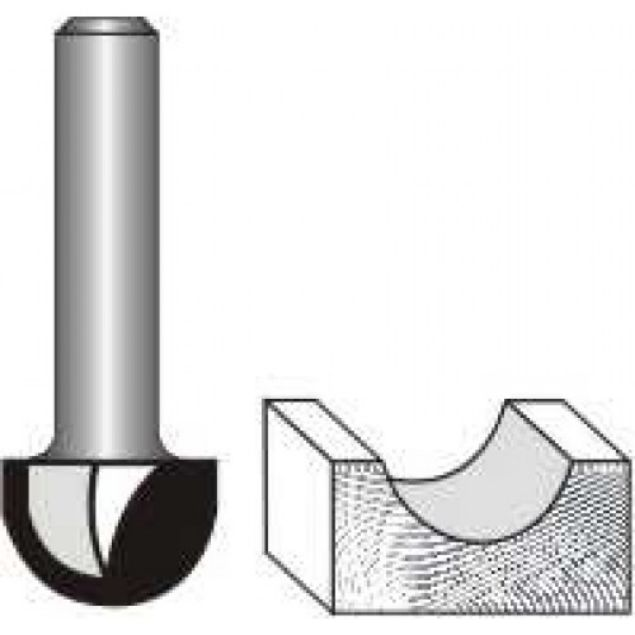 "Picture of CORE BOX BIT 3/8""WIDE x 3/8"" HIGH- SHANK: 1/4"""