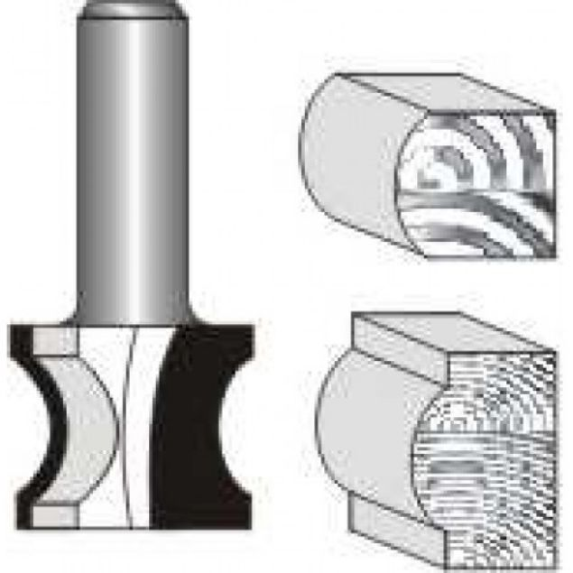 "Picture of EXTERNAL BULL NOSE 1"" WIDE x 3/4"" HIGH- 3/16 ""RADIUS - SHANK: 1/4"""