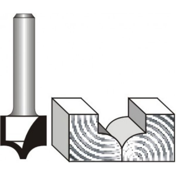 """Picture of PANEL MOULD - POINT CUTTING 1/4 ROUND 13 x 1/2"""" - SHANK: 1/4"""""""