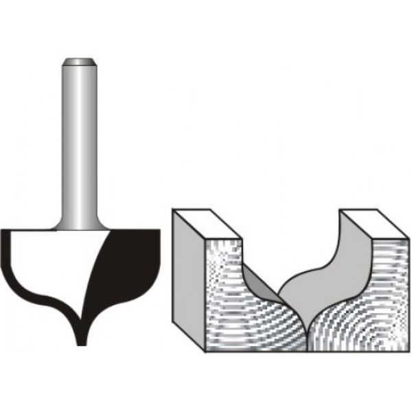 """Picture of PANEL MOULD - POINT CUTTING OGEE 27 DIAMETER x 20 DEEP - SHANK: 1/4"""""""