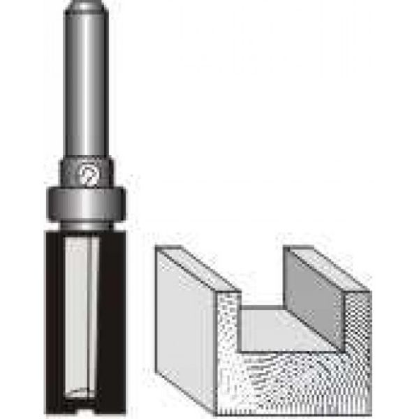 "Picture of PATTERN FLUSH TRIM WITH SHANK BEARING 1/2"" DIAMETER x 1""- SHANK: 1/4"""