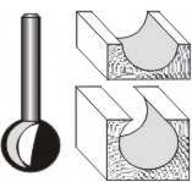 "Picture of PLUNGE CUTTING BALL 1/2""DIAMETER -SHANK: 1/4"""