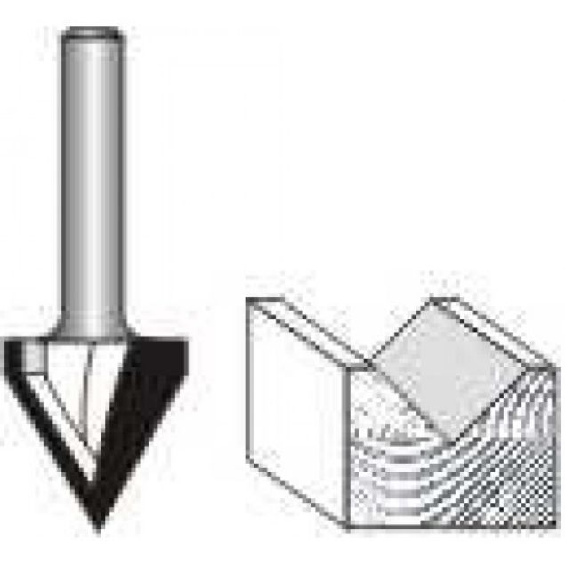 "Picture of V-GROOVE -1/2"" DIAMETER x 5/8"" HIGH x 60 DEGREES - SHANK: 1/4"""