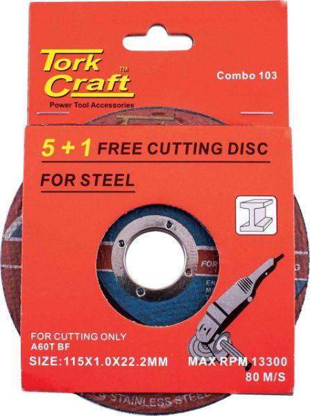 TORK CRAFT STEEL CUT OFF DISC 115MMX1MM 6PACK SOUTH AFRICA