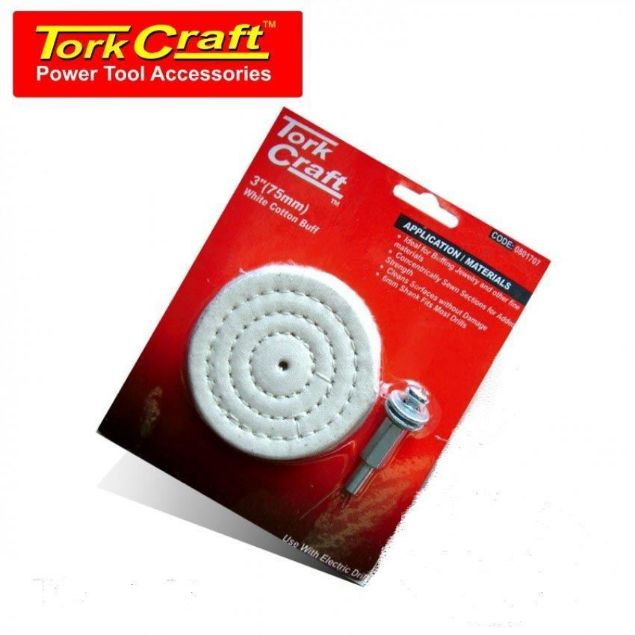 Picture of TORK CRAFT COTTON BUFF 75 X 6MM SHANK