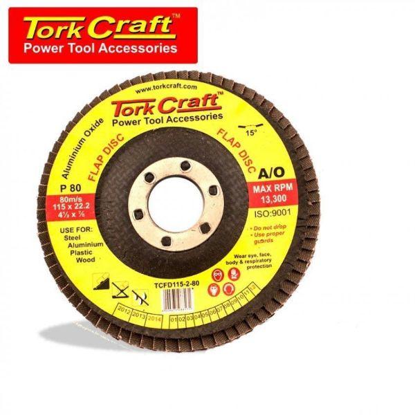 TORK CRAFT DISC SANDING FLAP 15DEG 115MM P80 SOUTH AFRICA