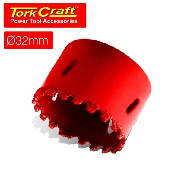 TORK CRAFT 32MM HOLE SAW CARBIDE GRIT RED SOUTH AFRICA
