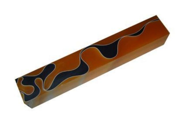 Picture of TOOLMATE ORANGE &  BLACK WITH WHITE LINE ACRYLIC PEN BLANK