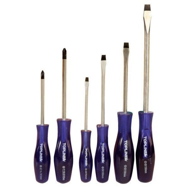 TOPLINE SCREWDRIVER BLACK TIP Q:6 PCE  SOUTH AFRICA