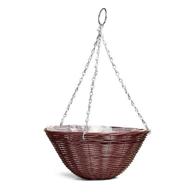 GOOD ROOTS Rattan Effect Hanging Basket: Brown — 35cm South Africa