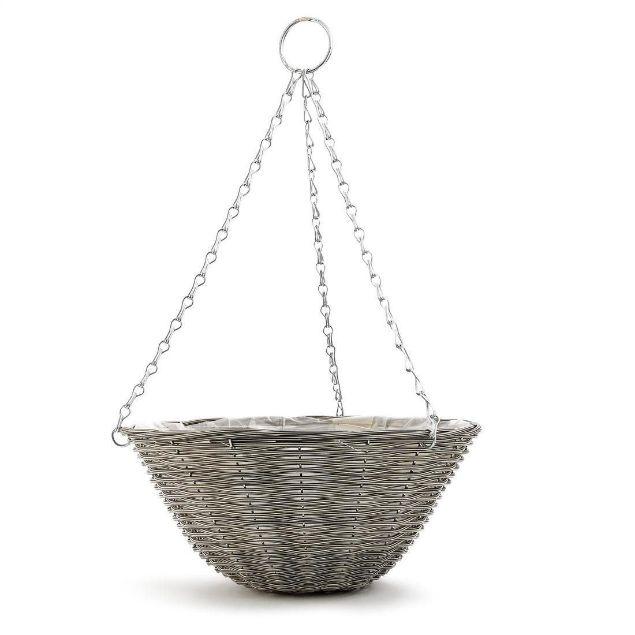 GOOD ROOTS Rattan Effect Hanging Basket: Light Grey — 35cm  South Africa