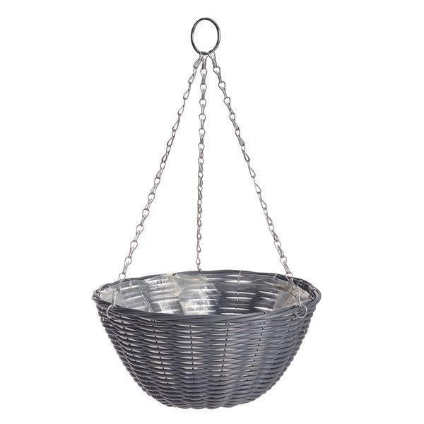 GOOD ROOTS Rattan Effect Hanging Basket: Dark Grey — 35cm South Africa