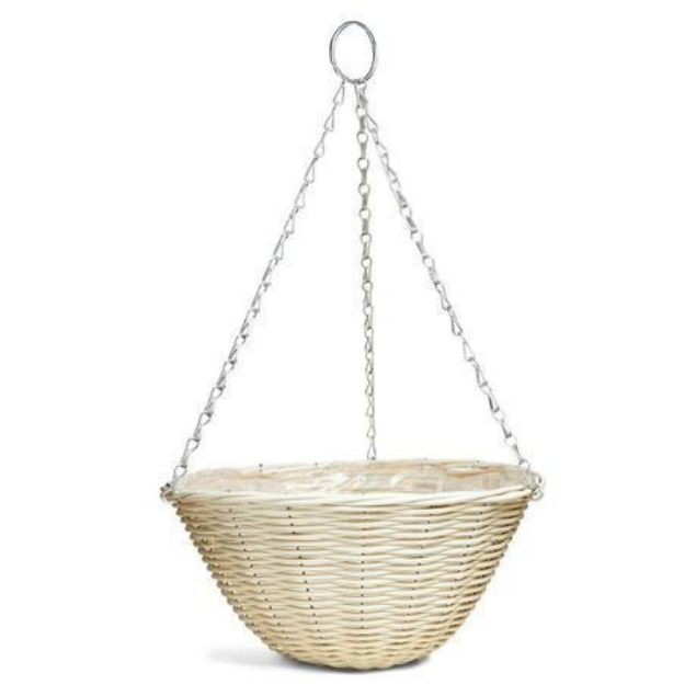 Good  Roots Rattan Effect Hanging Basket: Cream — 35cm South Africa