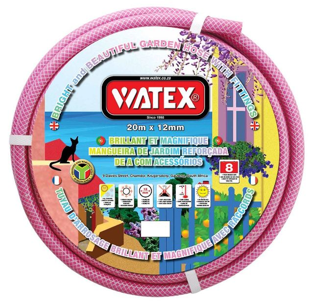 WATEX GARDEN HOSE + FITTINGS - PINK - 8 Year SOUTH AFRICA